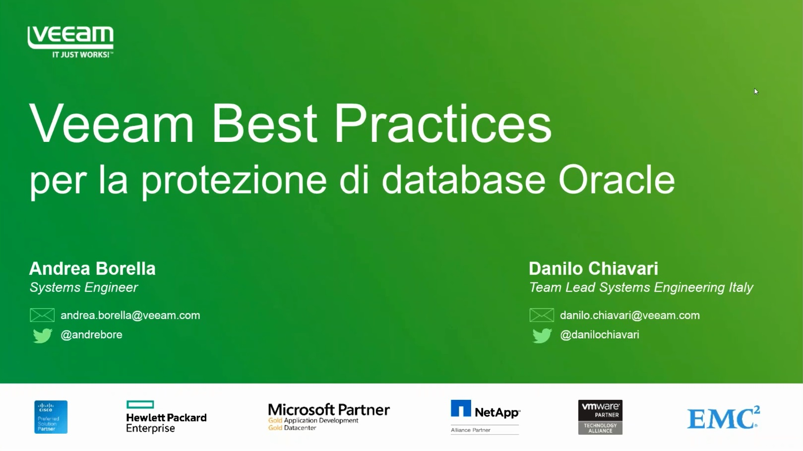 Veeam Best practices per la protezione di database Oracle