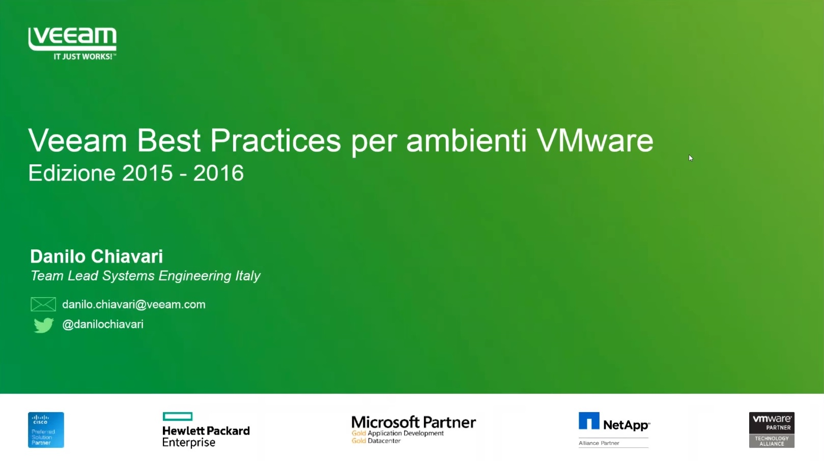 Veeam Best Practices per ambienti VMware, 2015-2016