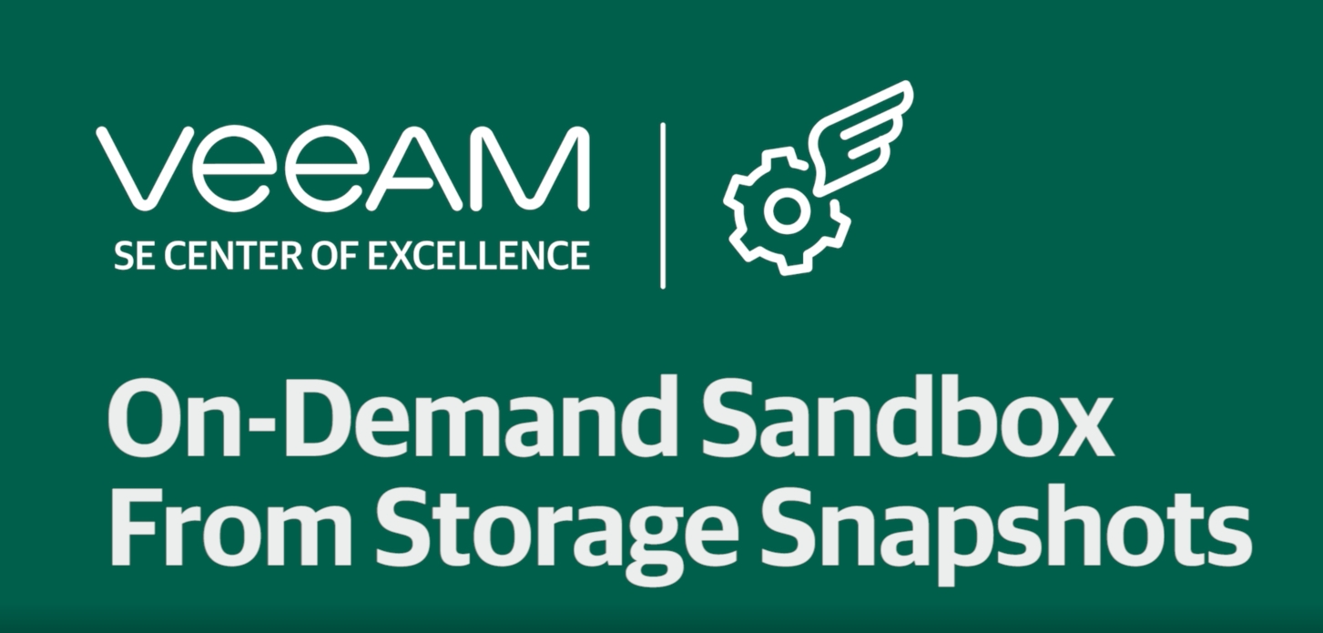 Set up the On-Demand SandBox from Storage Snapshots