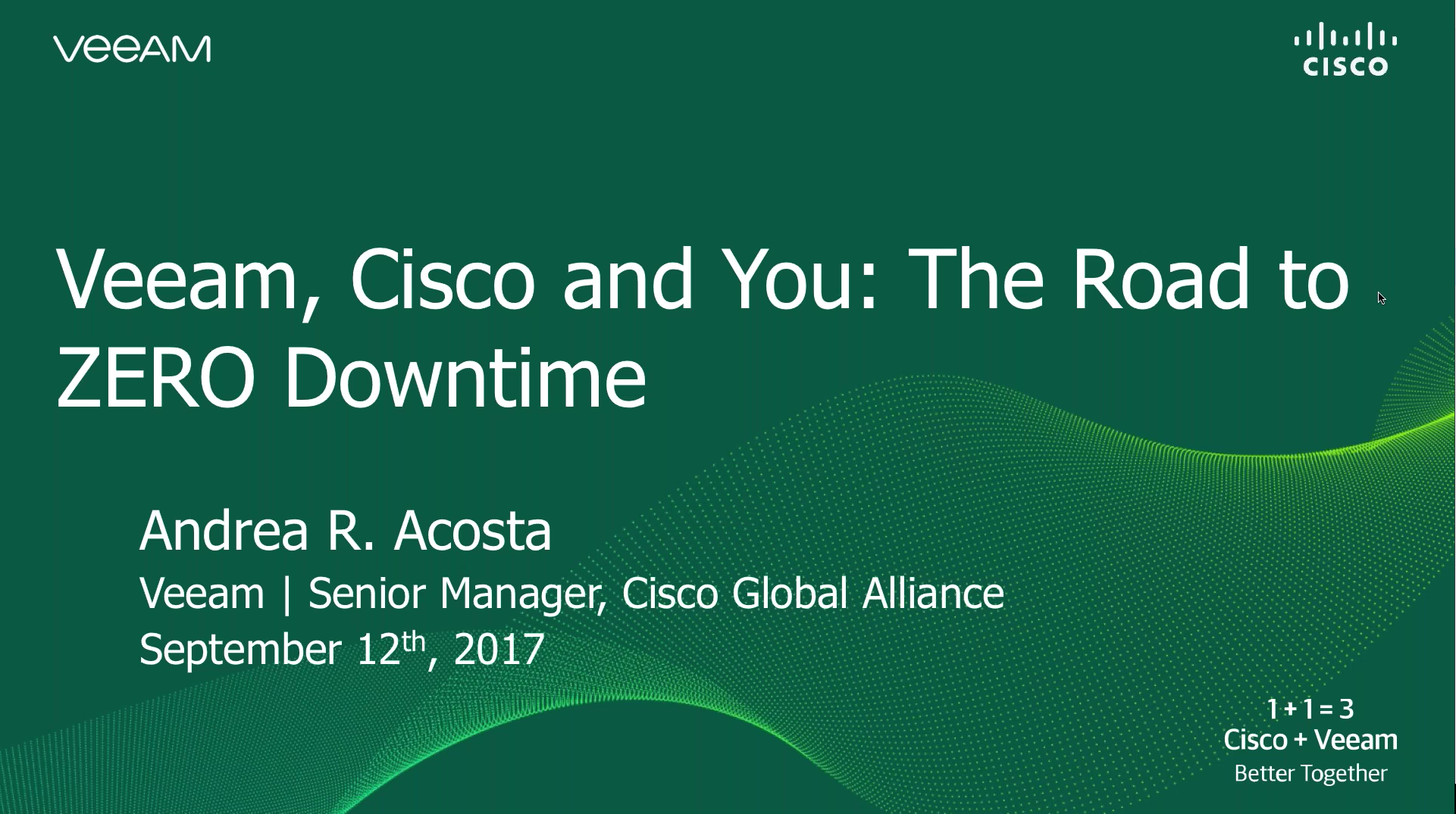 Veeam, Cisco and you: The race to zero customer downtime