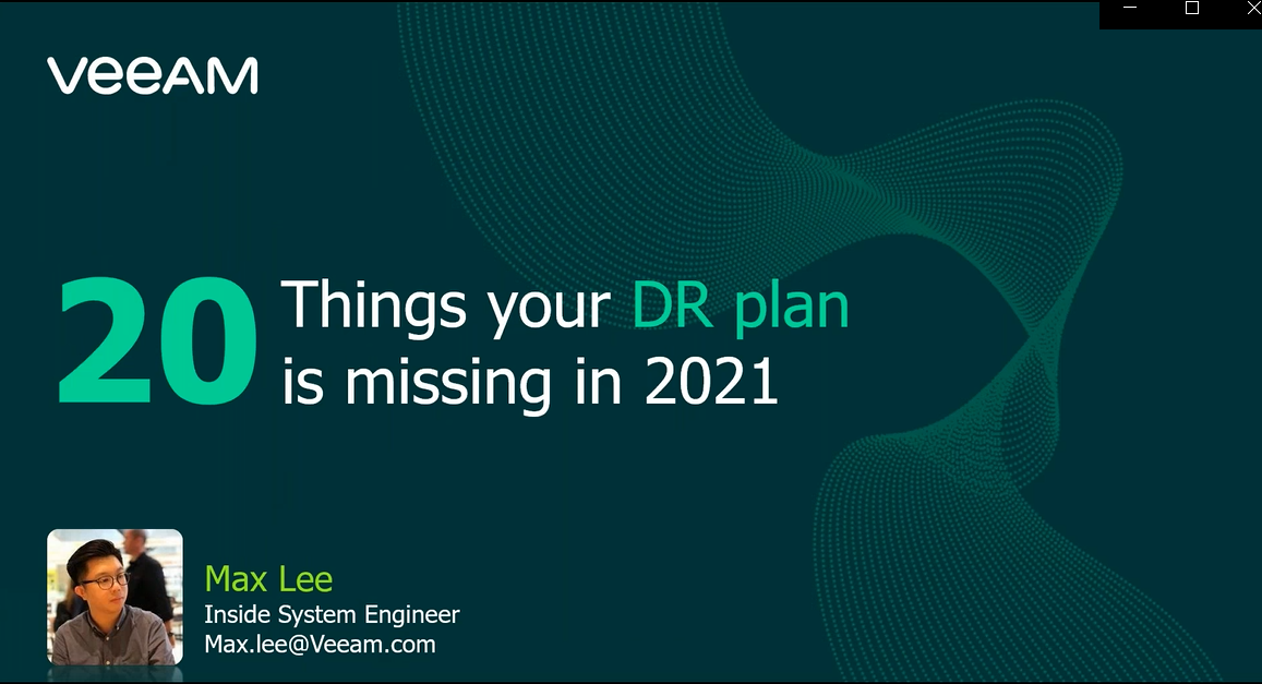 20 Things your DR plan is missing in 2021 [In Cantonese]