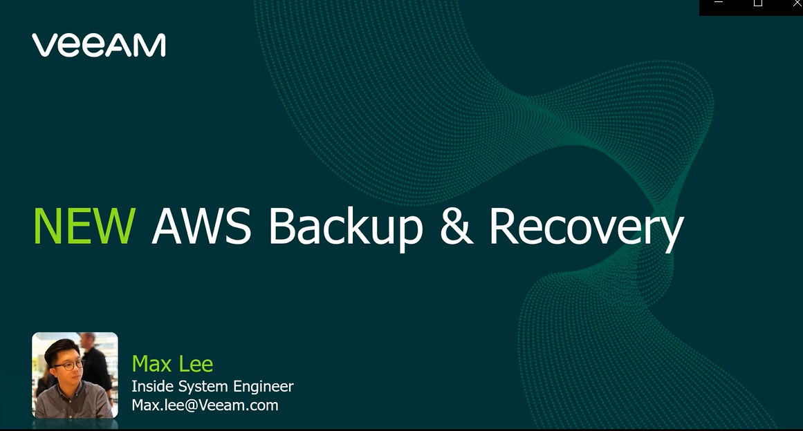 What's new with Veeam Backup for AWS v3 [In Cantonese]