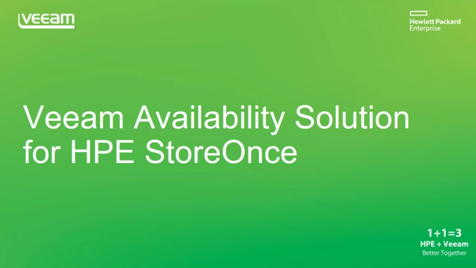 Veeam Availability Solution for HPE StoreOnce