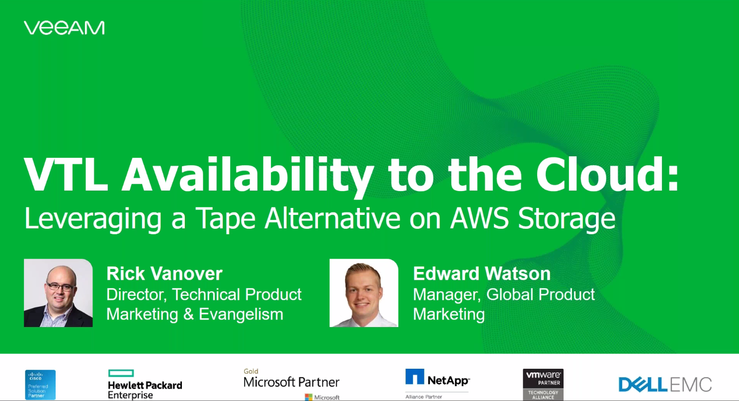 VTL Availability to the cloud: Leveraging a tape alternative on AWS storage with Veeam