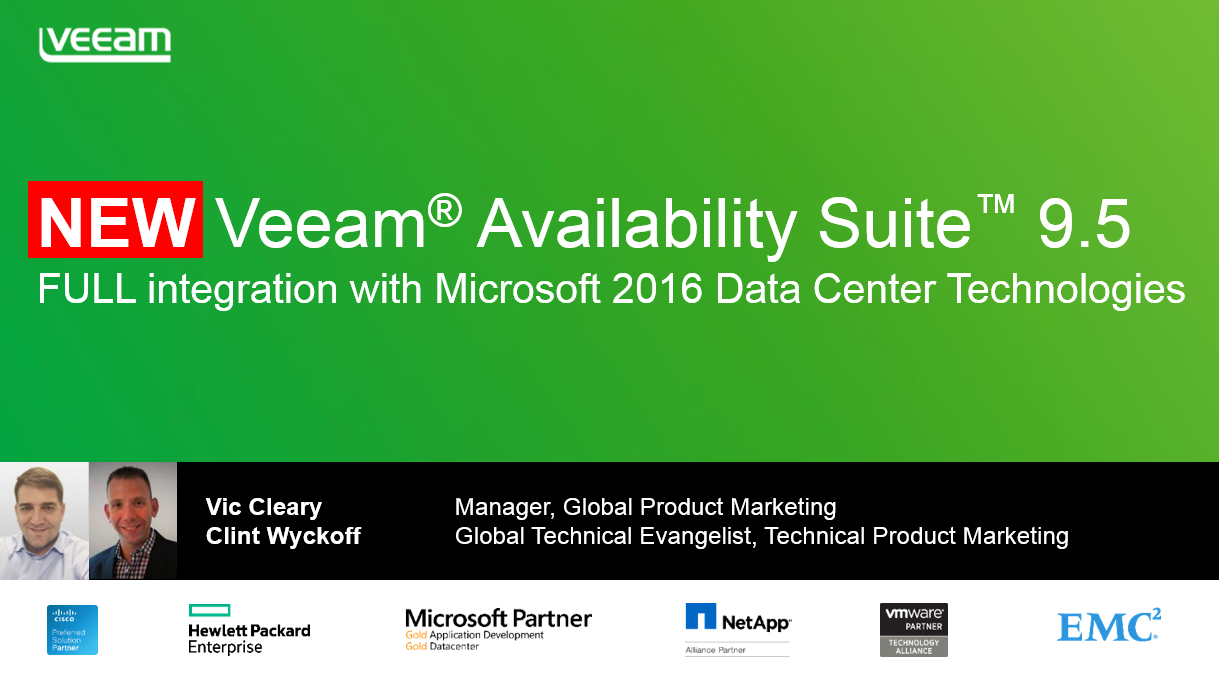 Veeam's FULL integration with Microsoft 2016 data center technologies