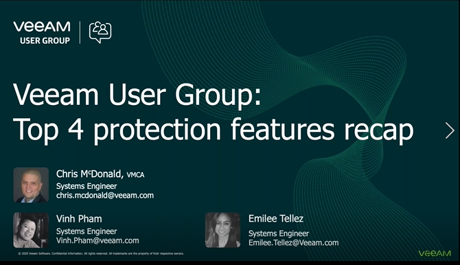 Veeam User Group: Top 4 protection features recap