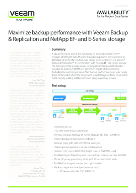 Maximize backup performance with Veeam Backup & Replication and NetApp EF- and E-Series storage