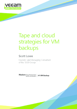Tape and cloud strategies for VM backups